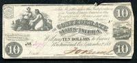 T-28 1861 $10 TEN DOLLARS CSA CONFEDERATE STATES OF AMERICA VERY FINE