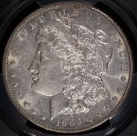 1903 Morgan Silver Dollar, PCGS AU58, Almost Unc, Strong Lustre, White, C4641