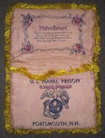 Rare 1930s US Naval Prison, Portsmouth, NH Marine Corps Guard China Marine Sweetheart Sewing Pillow