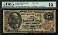 1882 $5 NBN Louisville, KY - Brown Back - FR-471 Charter 4145 - PMG 15
