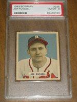 1949 Bowman #235 Jim Russell - Braves PSA 8