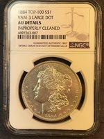 1884 P AU Details VAM 3 Large Dot Top 100 Morgan Silver Dollar R-4
