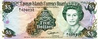 """Cayman Islands 5 Dollar Pick #: 12 1991 VF+ (see large scan)Other Only one in stock - scanned note is what you'll receive Green/Brown Queen Elizabeth II: Treasure Chest; ShipNote 6"""" x 2 1/2"""" North and Central America Turtle"""
