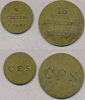 Faeroe Islands Private coins from C F Siemsen value 4 and 16 skilling Brass