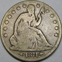 1874 50C VG10 SEATED LIBERTY HALF ~ LOVELY ORIGINAL PIECE!