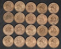 1923 British India 1/12 Anna, Bulk Lot of 20 Coins, Red/Brown UNC, #1