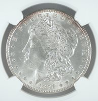 1891 S$1 Morgan Dollar NGC MS 64 +