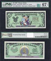 "Disney $5.00, 1997 ""A"" PMG 67,"