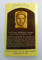 Autographed 1954 William Terry Baseball Hall of Fame Plaque Postcard ~ Free Ship
