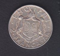 1935 Albania Silver Coin. 2 FR.AR. 10gr. Used. 168