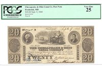 1840 PCGS 25 Very Fine Chesapeake & Ohio Canal Company $20 Note S/N 3948
