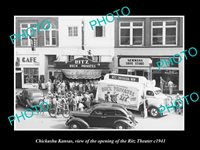 OLD LARGE HISTORIC PHOTO OF CHICKASHA KANSAS OPENING OF THE RITZ THEATER c1941