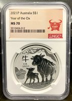2021 Australia $1 Lunar Year of the Ox 1 oz .9999 Silver Coin - NGC MS 70