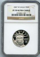 2007-W $50 platinum eagle ngc pf70