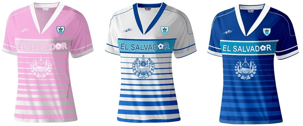 save off 469a8 69b07 El Salvador Slim Women Soccer Jersey New Exclusive Design Made by Arza  Sports