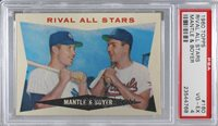 1960 Topps - [Base] #160 - Rival All-Stars (Mickey Mantle, Ken Boyer) [PSA 4 VG‑EX]