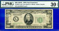 POP 1/4 1934-C $20 FRN (( San Francisco STAR )) PMG 30EPQ # L01540210*.