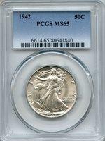 1942 Walking Liberty Half Dollar PCGS MS65 ~ 50c (80641840)