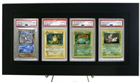 Pokemon Card Frame/Display w/ FOUR PSA Graded Vertical Card Openings-Black Desig