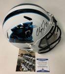 Christian McCaffrey - Autographed Full Size Riddell Flat White Speed Football Helmet - Carolina Panthers - Beckett BAS