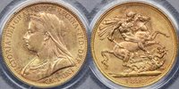 1893 Melbourne Veiled Head Sovereign - PCGS MS62