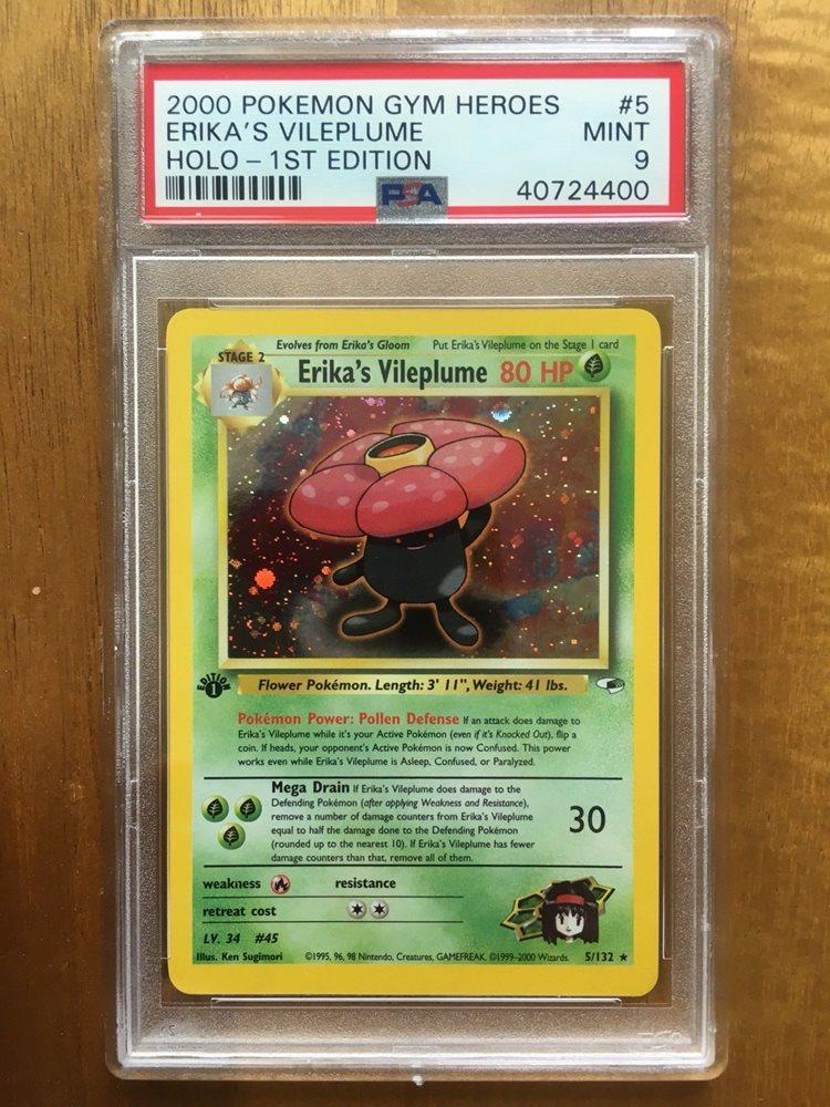 PSA 9 Pokemon Gym Heroes Unlimited Holo Rare Erika/'s Vileplume 5//132 MINT P019