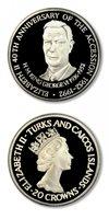 Turks & Caicos Islands Accession of Elizabeth 20 Crowns 1992 Proof Silver Crown