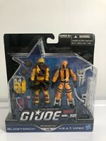 Gi Joe 50th Anniversary 2 Pack Heated Battle Blowtorch vs H.E.A.T. Viper MOC