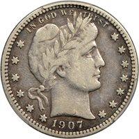 $0.25 1907-S Barber Quarter 25c - PCGS VF20