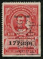 Scott R455 1946 $30 carmine (Thomas Corwin) perfin, VF
