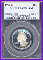 1983-S PCGS PR69 DEEP CAMEO Washington Quarter