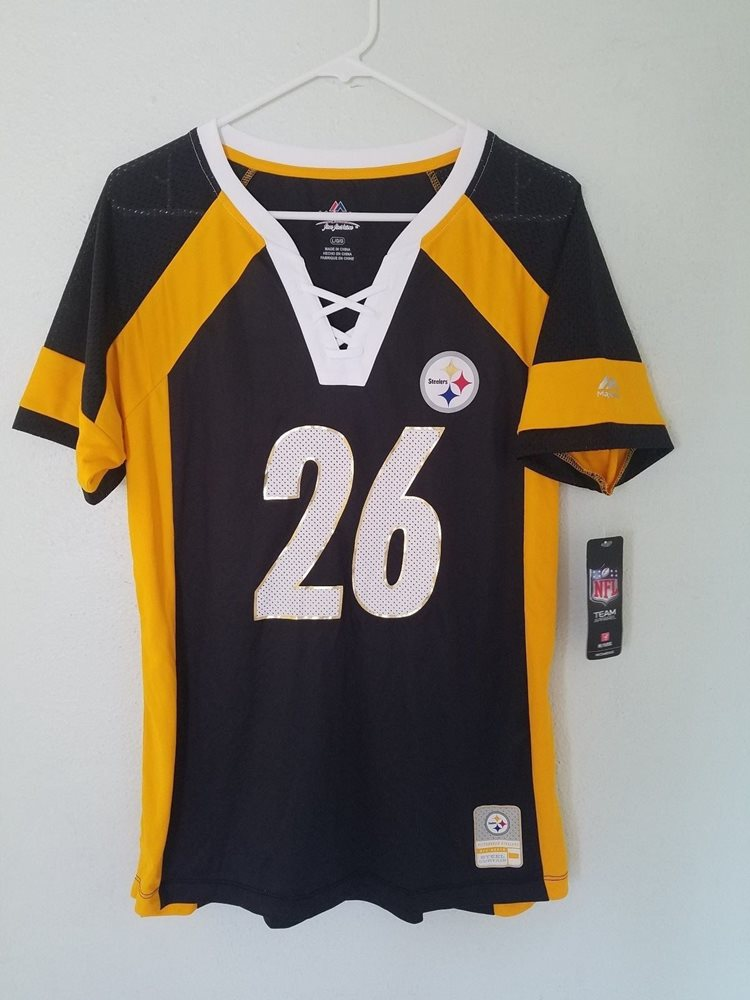 quality design cc394 2e3b6 WOMENS NFL Team Apparel PITTSBURGH STEELERS #26 LE'VEON BELL V-Neck Jersey  NWT