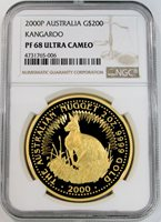2000 P GOLD AUSTRALIA $200 KANGAROO 2 OZ COIN NGC PROOF 68 ULTRA CAMEO 265 MINTED