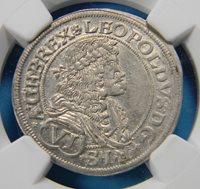 Austria 1677 Silver 6 Kreuzer NGC MS 61 Vienna mint KM#1185