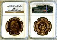 """1965 GOLD ISLE OF MAN 5 POUND NGC MINT STATE 65 ONLY 500 MINTED """"ACQUISITION BICENTENNIAL"""""""