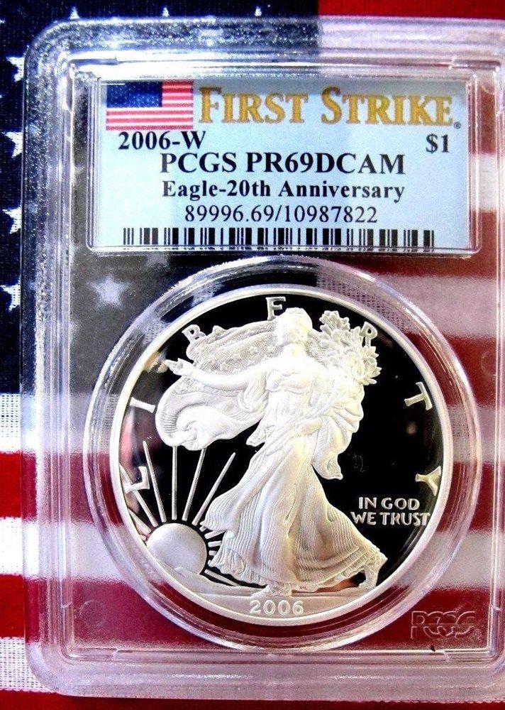 2006-W $1 PCGS PR70 FS First Strike 20th Anniversary Proof Silver Eagle Coin 1oz