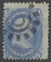 United StatesScott #63 (2014 Scott Value $50.00), Used, Avg. 1c Franklin with crease, perf flaws & a 60% strike of a type 3 San Francisco cogwheel cancel.Stamp #47111 | Price: $15.00Add To Cart
