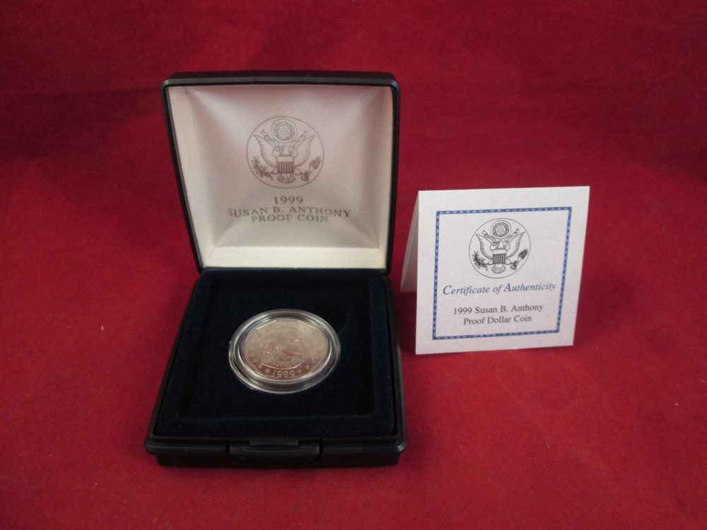 1999-P Susan B Anthony Dollar Proof with Box and COA