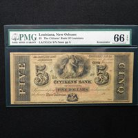 1850's- 1860's $5 The Citizens Bank of Louisiana, PMG 66 EPQ Gem Unc