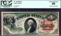 HGR SUNDAY 1869 $1 Legal Tender RAINBOW ((RARE Wyman Autograph)) PCGS XF-40