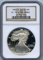 1987-S $1 silver eagle ngc pf70