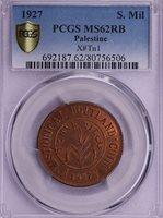 PCGS-MS62RB 1927 PALESTINE HOLLY MIL TN1 NICE MINT RED RARE GRADE