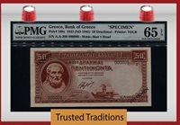 50 Drachmai 1941 Greece Hesiod Pmg 65 Epq Gem Unc Rare None Finer