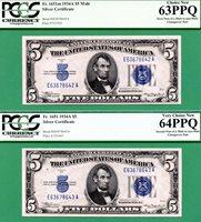 RARE MULE to NON-MULE CHANGEOVER PAIR - 1934A $5 SC - PCGS CU 63 & CU 64 PPQ