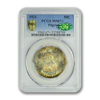 PILGRIM 1921 50C Silver Commemorative PCGS MS67+ (CAC)