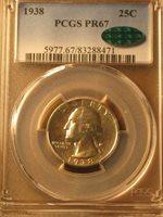 1938 Proof Washington Quarter 25c Cent - PCGS PR67 CAC