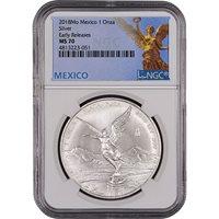 2018 1 oz Silver Mexican Libertad Coins NGC MS70 ER