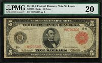 1914 $5 Federal Reserve Note St. Louis FR-839b - RED SEAL - Graded PMG 20 - VF