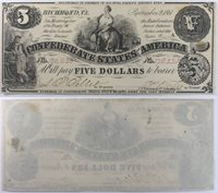 1861 $5 CSA Confederate States of America Note T36