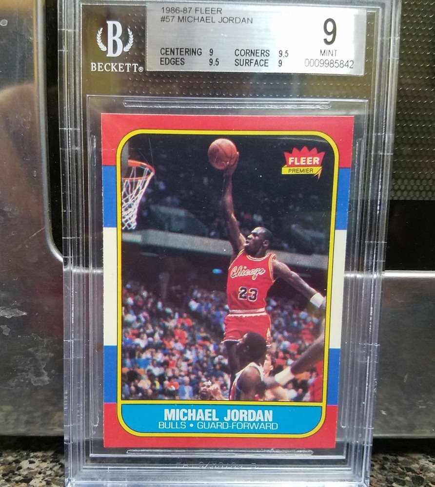 Michael Jordan 86 87 Fleer Rookie Card 57 Bgs Grade 9 With Two 95 Subs Two 9